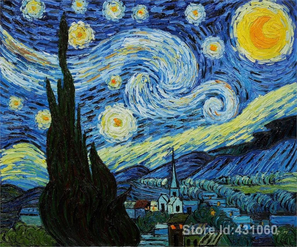 STARRY NIGHT PERSPECTIVE 24X36 POSTER WALL ART ARTIST VAN GOGH OIL CANVAS COOL!!