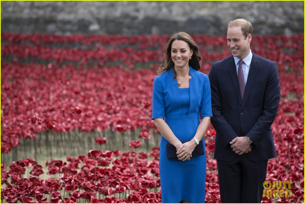 Kate Middleton & Prince William Visit Stunning Ceramic Poppy Installation in London