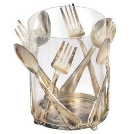 Glass Utensil Holder With Spoon And Fork Shaped Accents Product Utensil Holder Construction Material Glass And Steel Col Objets Pantin Argenterie