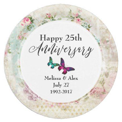 Butterflie and Vintage Roses Anniversary Paper Plate - anniversary cyo diy gift idea presents party celebration  sc 1 st  Pinterest & Butterflie and Vintage Roses Anniversary Paper Plate - anniversary ...