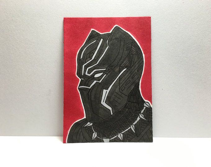 "2.5"" x 3.5"" Black Panther Sketch Card"