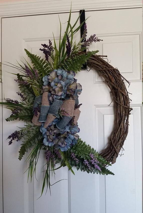 Photo of grapevine wreath,  front door wreath, wreath with hydrangea, oval grapevine wreath, oval wreath for front door, floral grapevine wreath