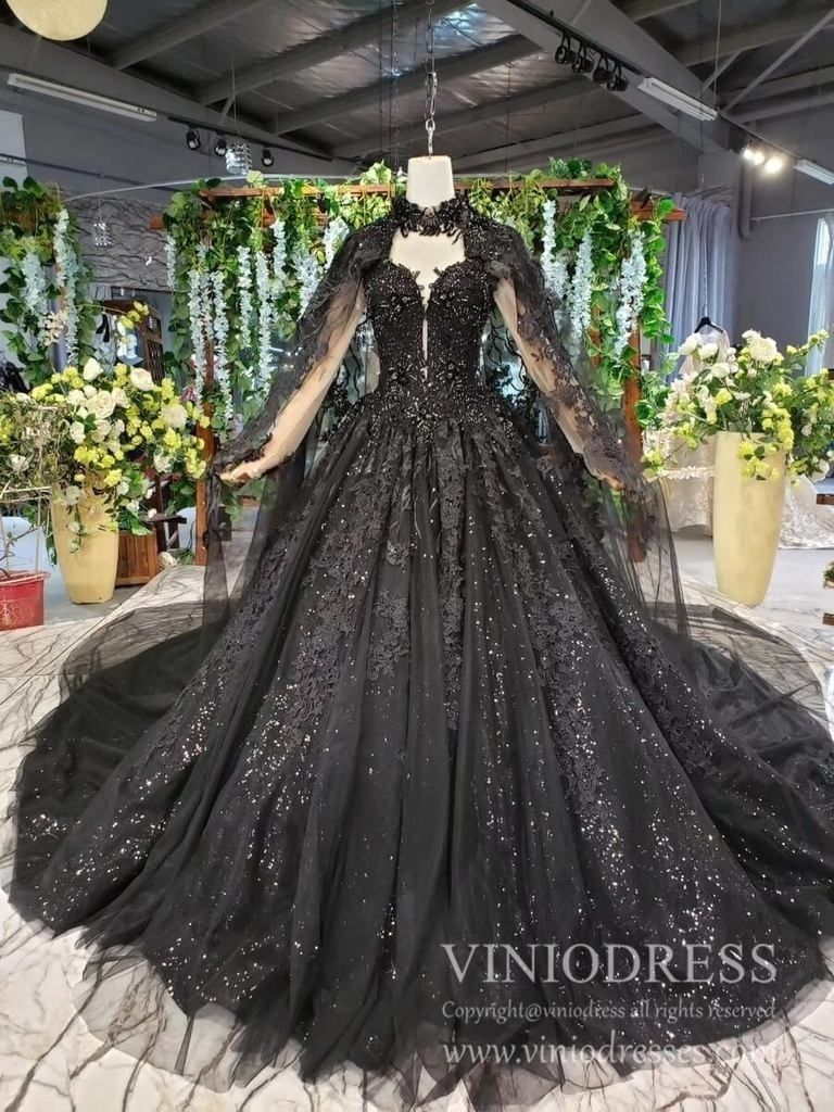 Sparkly black lace ball gown wedding dress with cap vintage formal