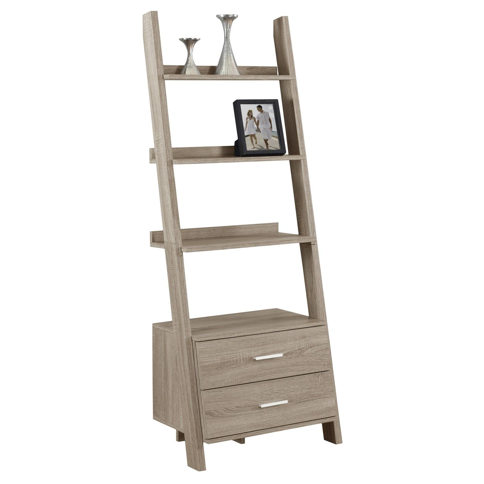 Bookcase with storage and ladder dark taupe everyroom taupe