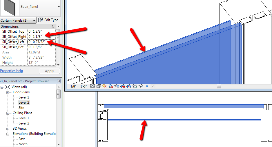 Revit S Curtain Wall Tool Is Great In The Fact That Actual Glass Panel Size Interactively Adapts To And Configuration Of