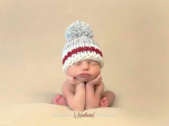 Chunky mens work socks inspired baby hat knit pompom wool photo prop newborn baby child 16 colors