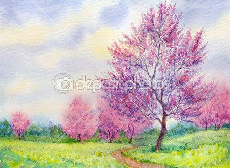 Baixar - Paisagem de primavera em aquarela. árvore de florescência em um campo — Imagem de Stock #16765097