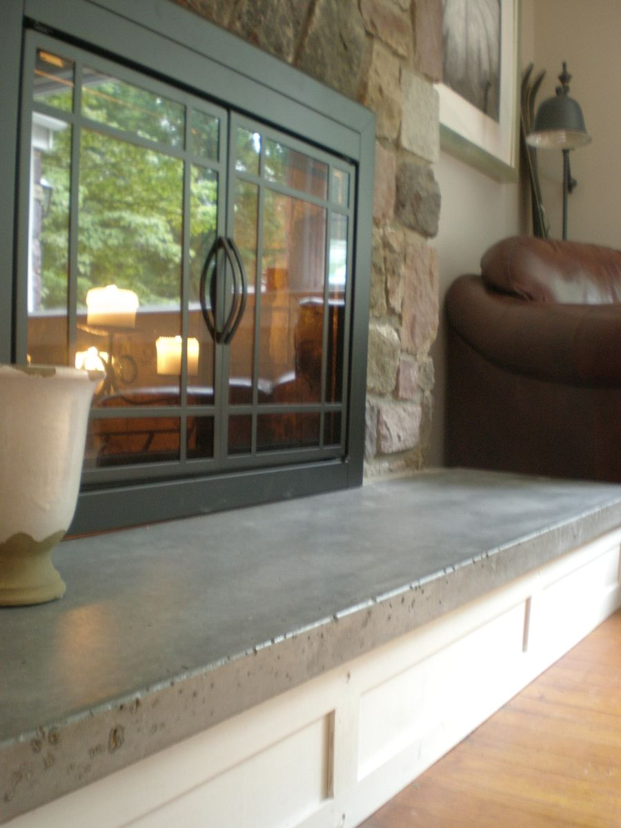 Concrete Hearth And Custom Mantel With Images