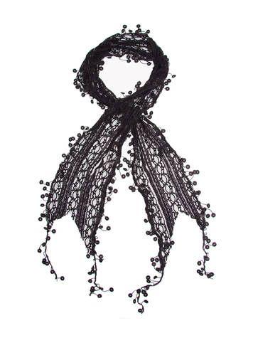 Arabelle Scarf, Lace stripes, Unique Tassel Crochet Trim Black