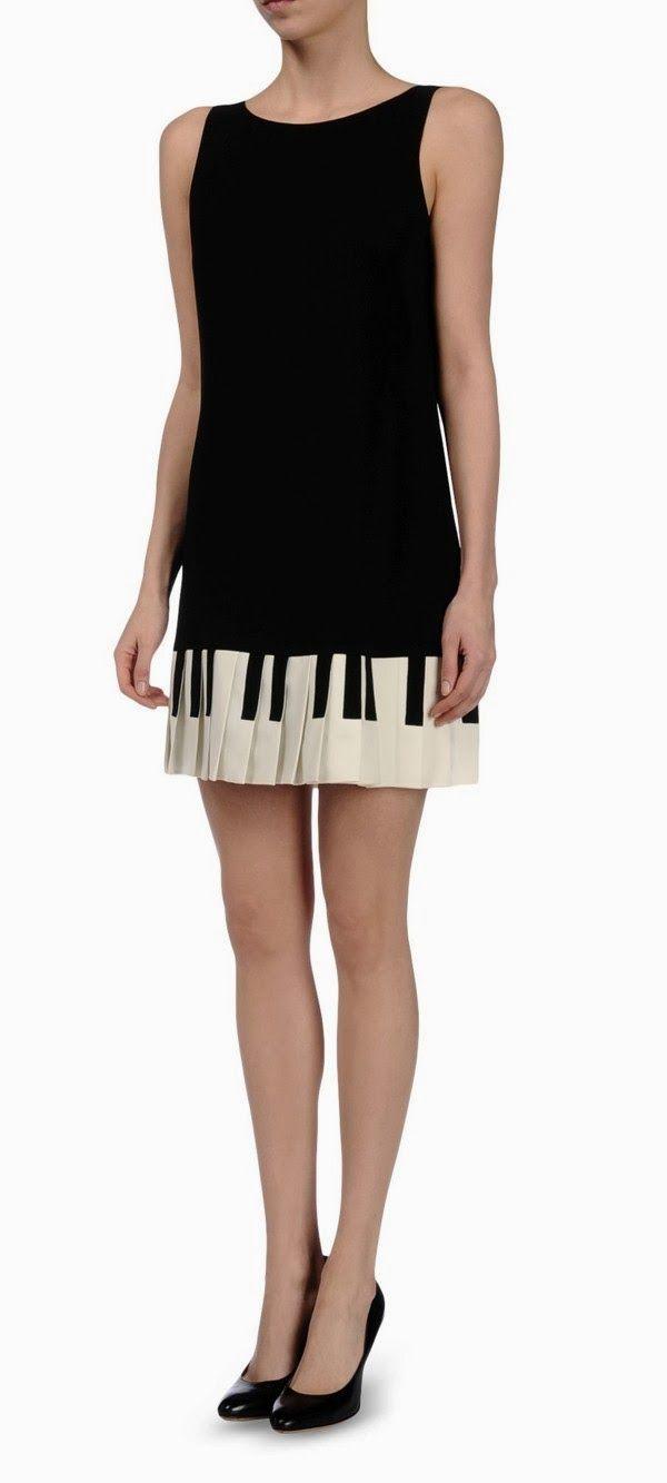 Moschino Vestido Piano Icônico And Cheap E Preto Branco rQCdsth