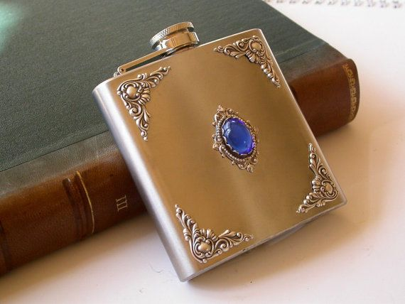 OMG so Pretty!   Liquor Flask  Sapphire and Silver on Stainless by LeBoudoirNoir, $60.00