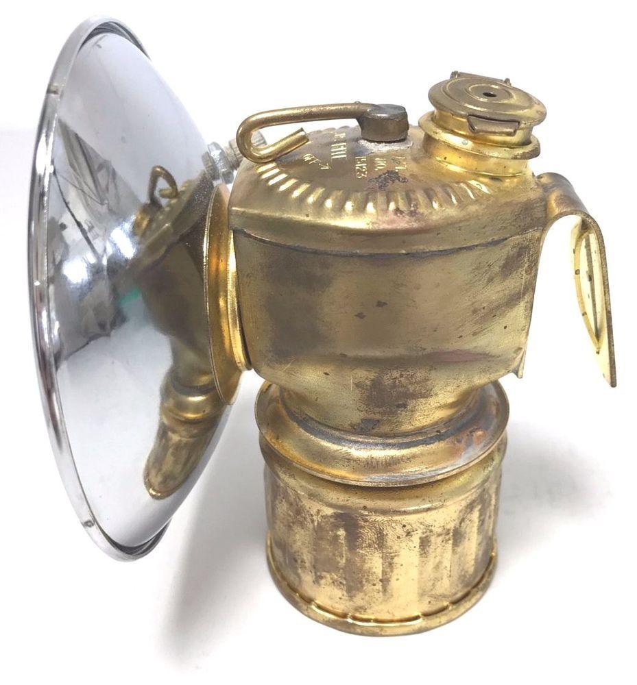 Vintage Brass Justrite Carbide Miners Light Lamp Coal Mining HAT ...