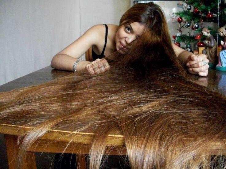 Cum on her long hair
