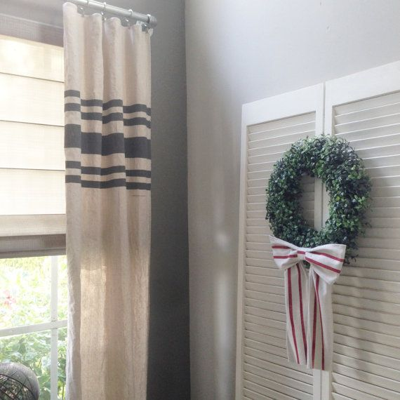 Grain Sack Inspired Striped Curtain Panels