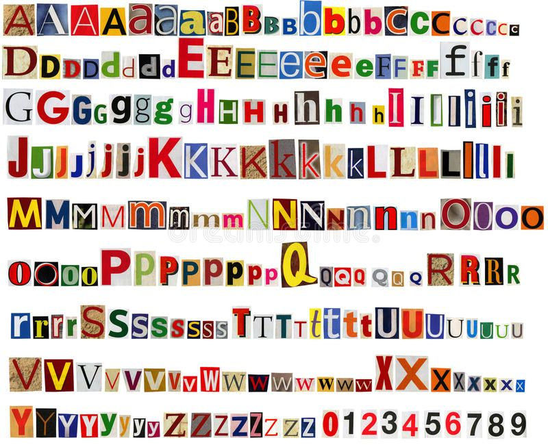 Newspaper alphabet with letters and numbers. royalty free