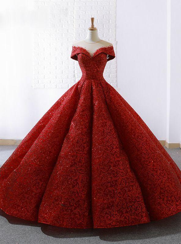 Rotes Spitzenballkleid durchsichtiges Brautkleid mit ...
