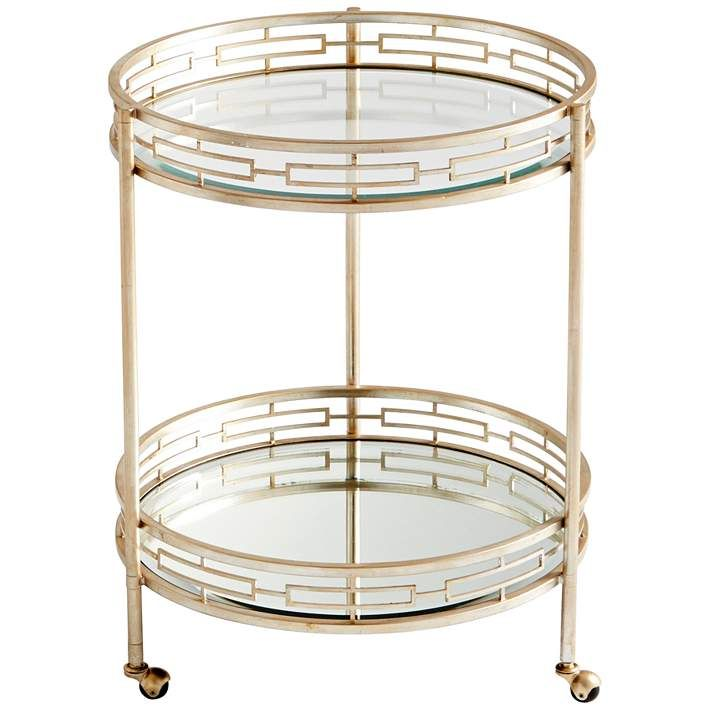 Meridian Antique Silver And Gl Round Bar Cart Style 10f96 Carts Contemporary