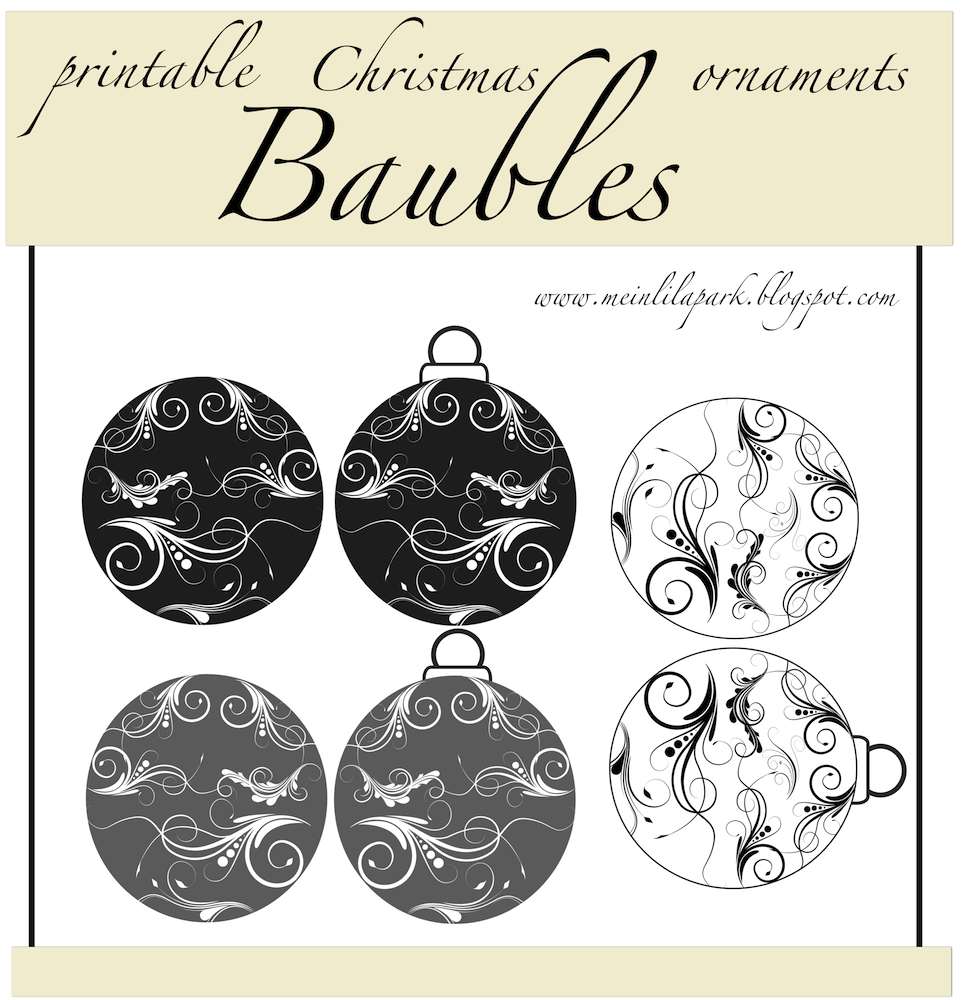 free printable paper baubles – Christmas ornament tags