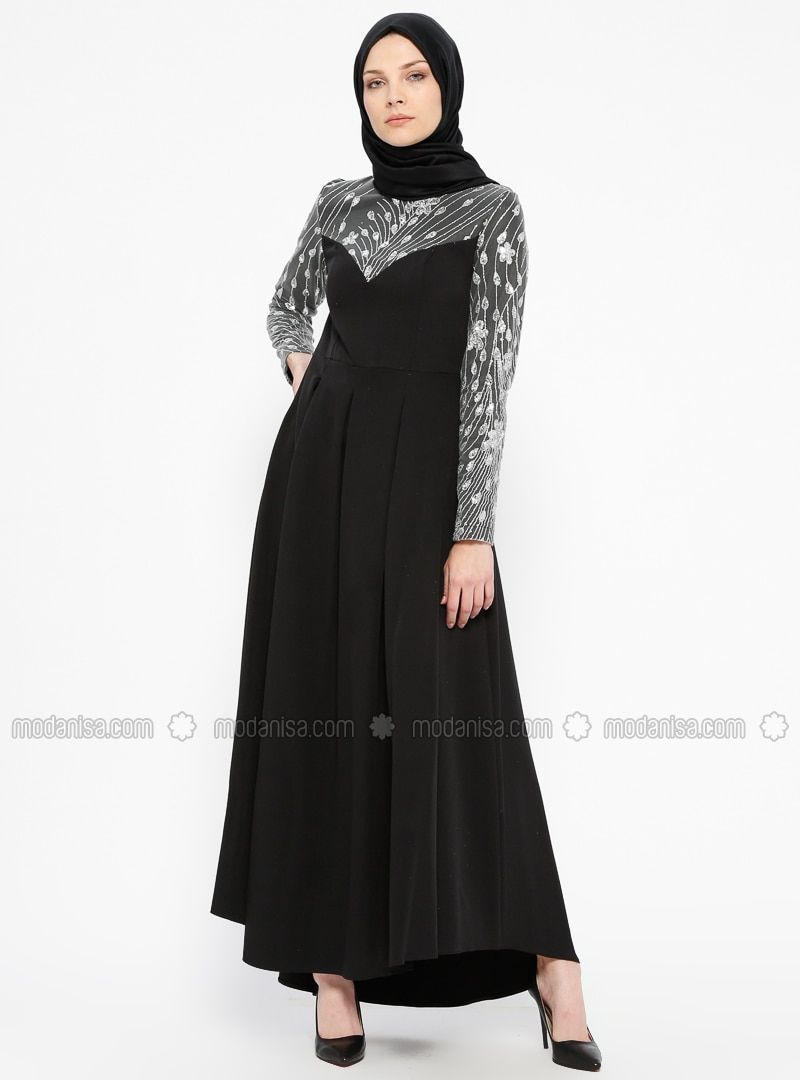 Butik Nese Black Unlined Crew Neck Muslim Evening Dress Pakaian Wanita Wanita Baju Muslim