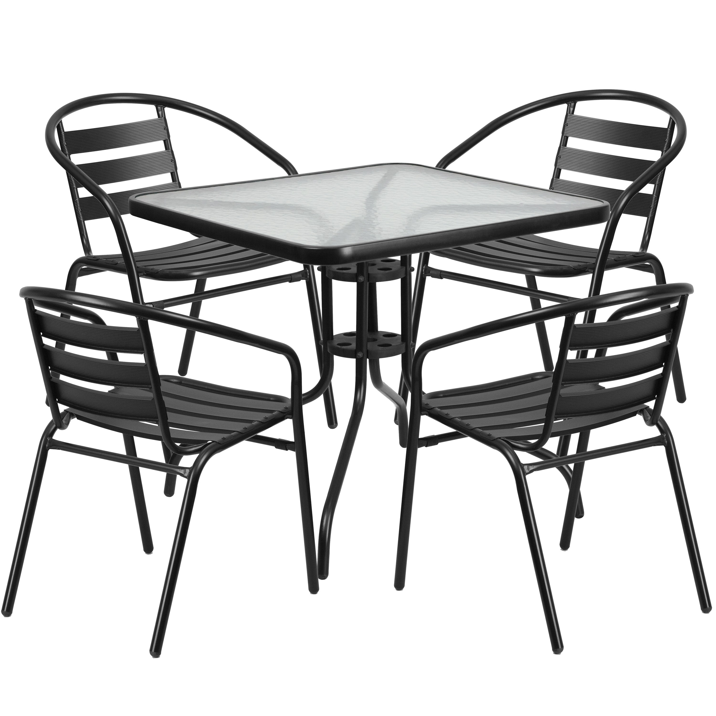 31 5 inch square glass metal table with 4 metal aluminum silver slat stack chairs clear black lancaster home patio furniture