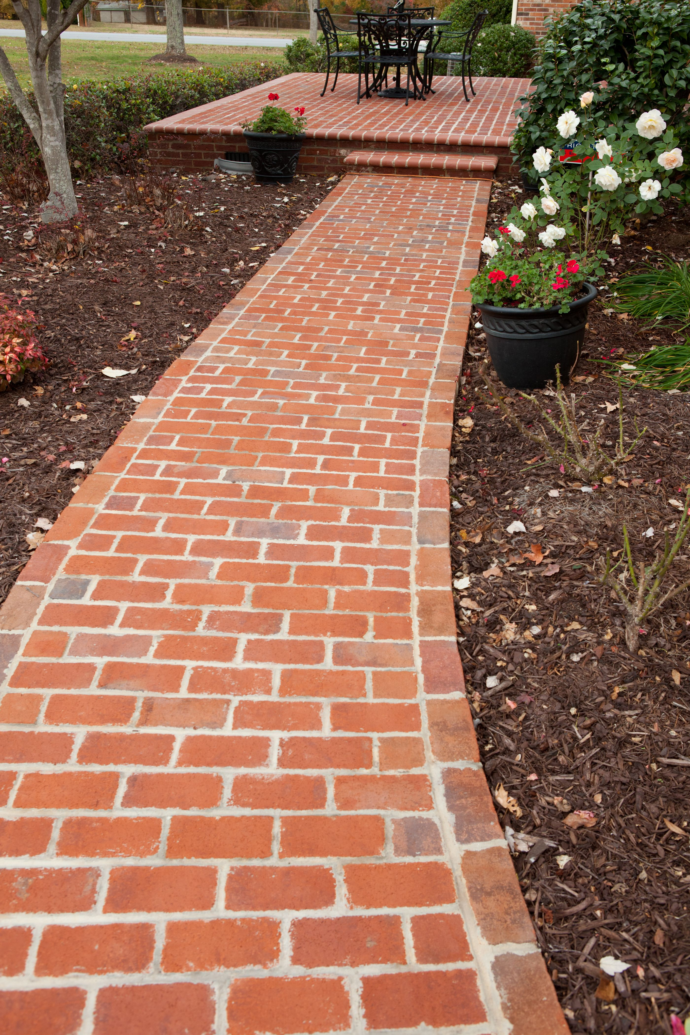 Brick Concrete Walkway Design Front Of House Part - 28: Exterior Brick Lined Walkway Brick And Concrete Walkway Concrete Walkway  With Brick Border How To Lay Brick Walkway With Mortar Brick Walkway Lined  Design ...