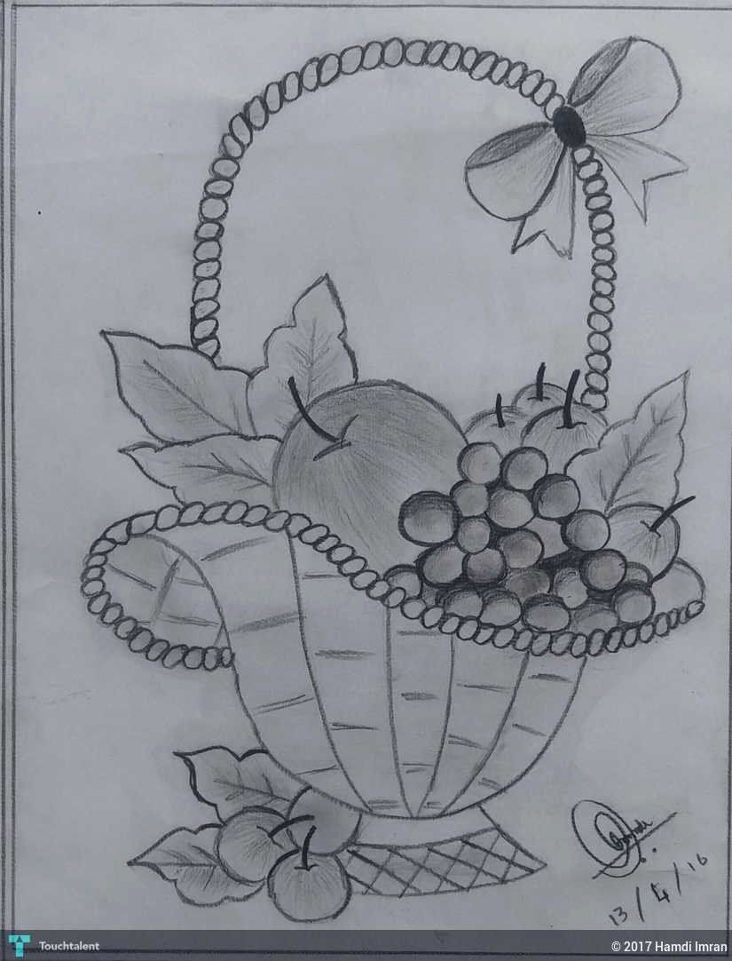 Vegetable Basket Coloring New Fruit Basket For Drawing At Paintingvalley Pencil Art Drawings Fruit Coloring Pages Pencil Sketch Images