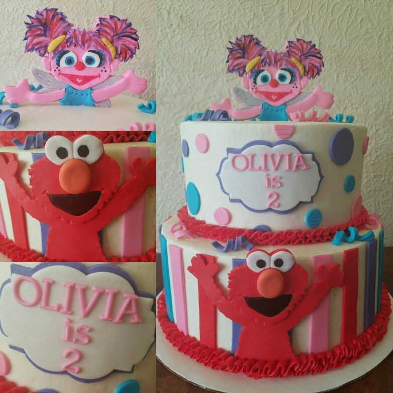 Abby Cadabby And Elmo Sesame Street Themed Birthday Cake With