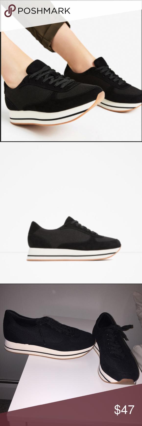 Zara Black Platform Sneakers Mesh
