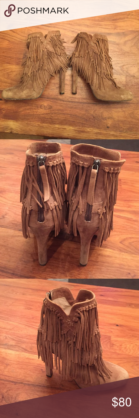 Fringed booties size 38.5 Fringed suede booties Pepe size 38.5.  Zippered back. Jean-Michelle Cazabat Shoes Ankle Boots & Booties