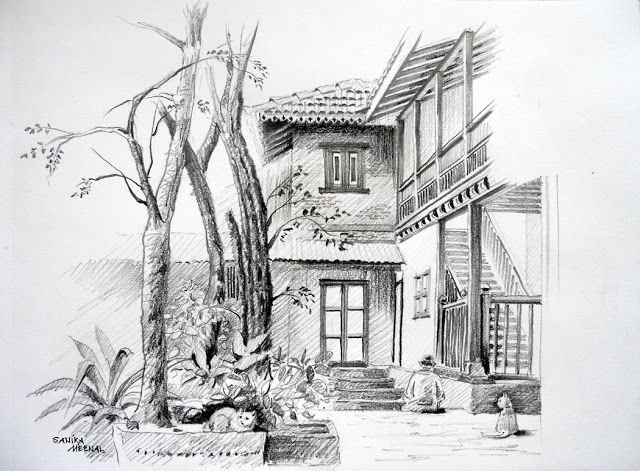 Arteworld by sanika dhanorkar pencil sketch anandashram pune india