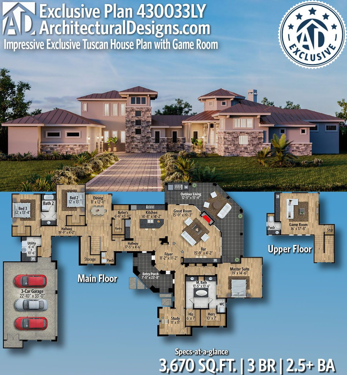 Plan 430033ly Impressive Exclusive Tuscan House Plan With Game Room Tuscan House Plans House Plans Tuscan House