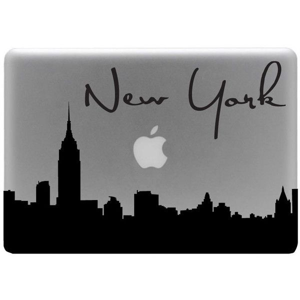 New York Skyline Macbook Decal With Writing / Macbook Sticker / Laptop... ($9.99) ❤ liked on Polyvore