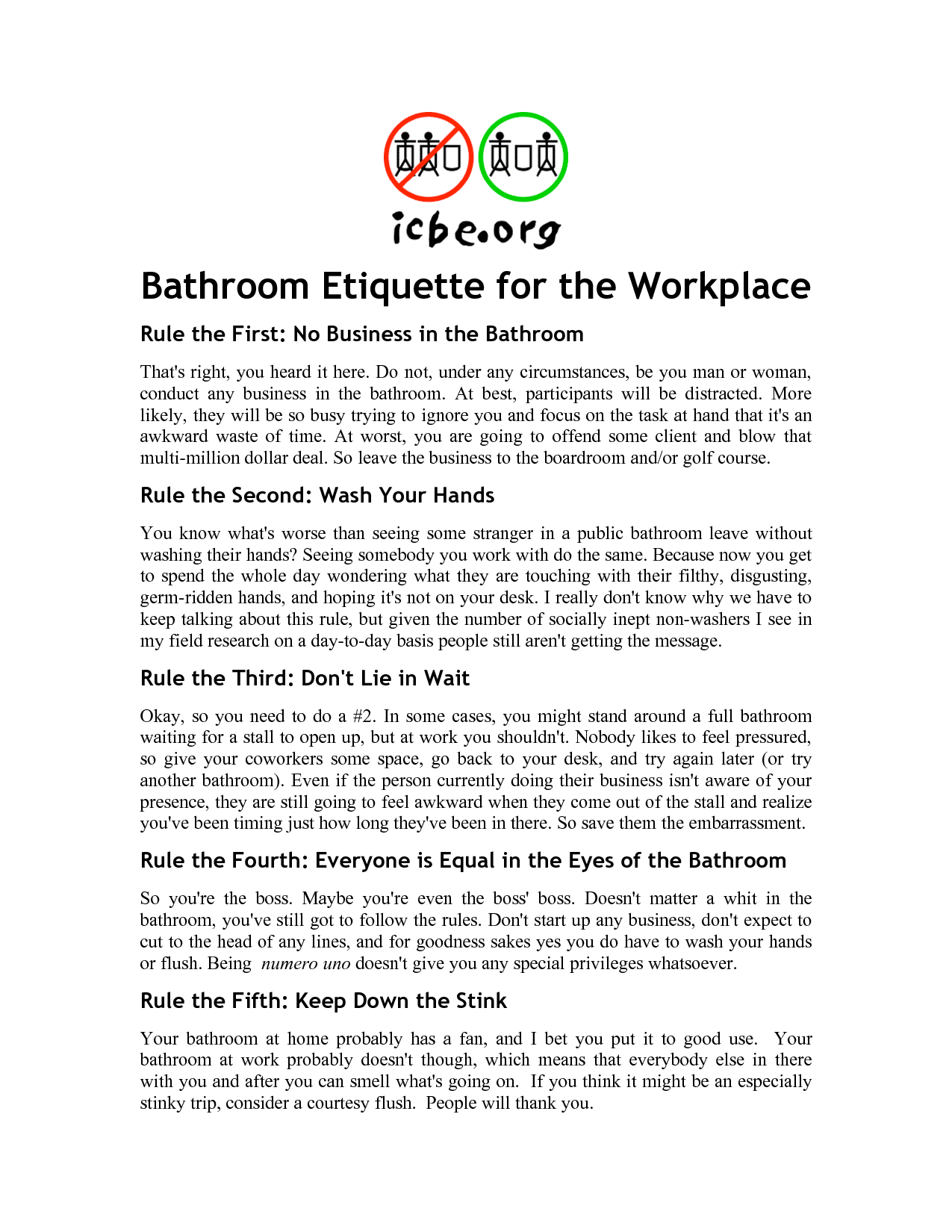 bathroom etiquette. Bathroom Signs For The Workplace Etiquette T