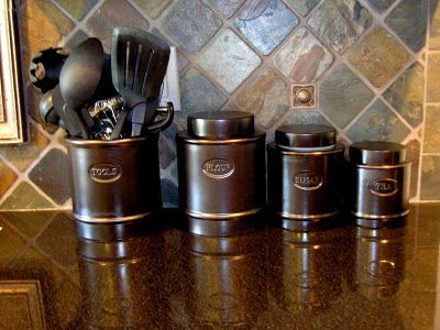 Plain Kitchen Canisters Are Given A New Look With Oil Rubbed Bronze Spray Paint
