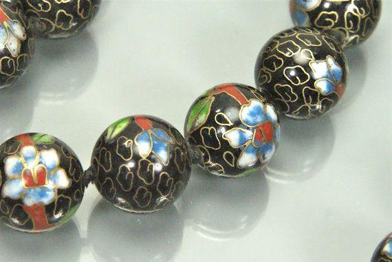 Vintage 14mm Cloisonne Beaded Necklace Black by EarlyBirdJewels, $80.00