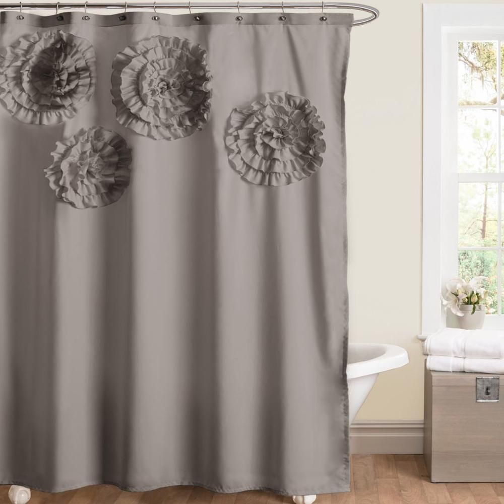 Lush Decor Flower Glamour Grey Shower Curtain