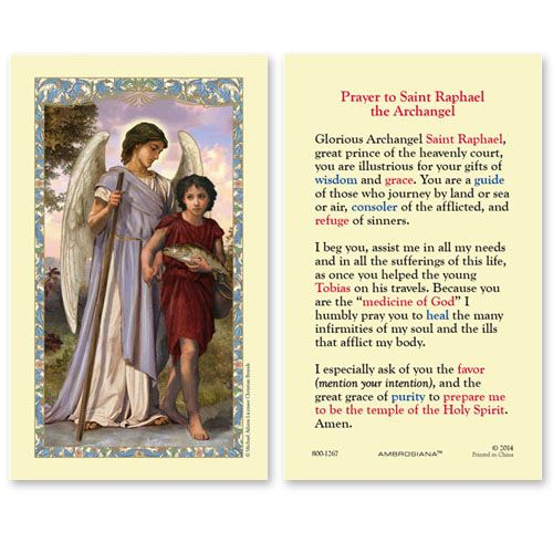 All That Remains Of St Raphaels >> Gerffert Prayer To Saint Raphael The Archangel Holy Card Set