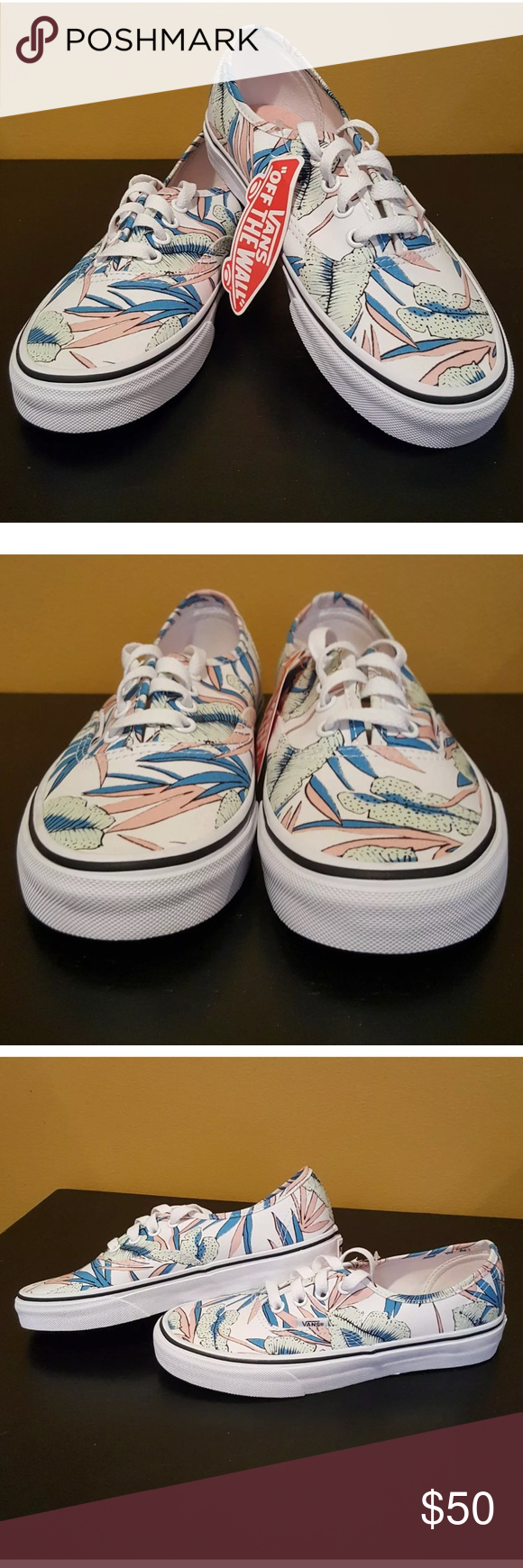 3a0dbd6aea Vans tropical Lo Pro Hawaiian summer pink sneakers Vans new with tags Low  Pro tropical leaf print in women s size 6.5 men s 5. Comes from a smoke  free and ...