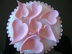 Pink hearts on the cupcake