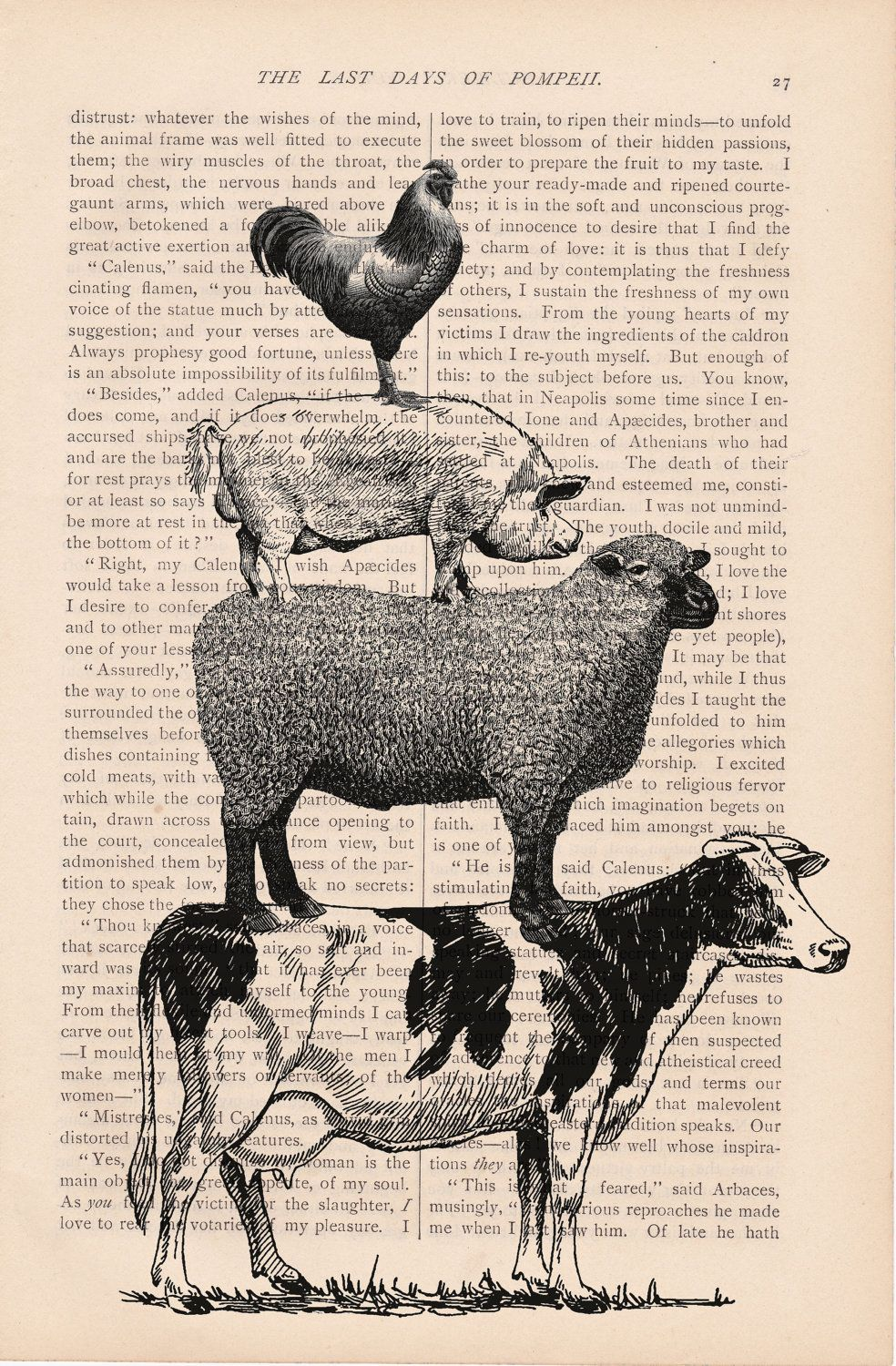 Farm Animal Kitchen Decor Dictionary Print Art Vintage Stacked Farm Animals No 2 Print