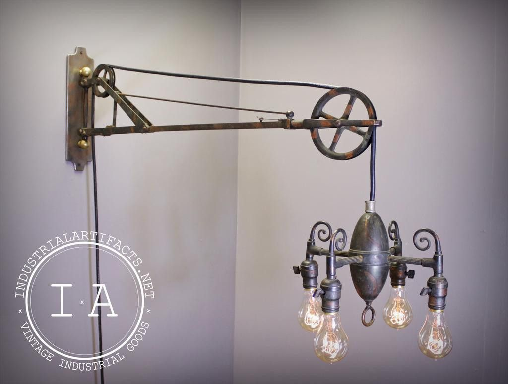 Very rare early oxidized copper dental swing arm pulley lamp very rare early oxidized copper dental swing arm pulley lamp telescoping chandelier arubaitofo Image collections