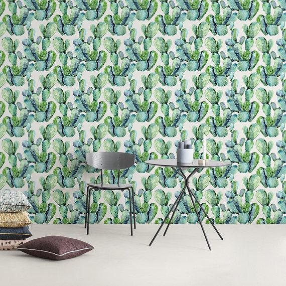 Self Adhesive Removable Wallpaper Cactus Wallpaper Peel And Etsy Removable Wallpaper Fabric Wallpaper Wall Design