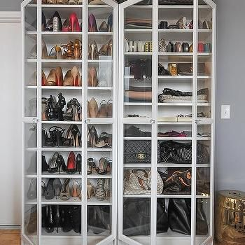 White Freestanding Shoe Cabinets With Glass Doors And