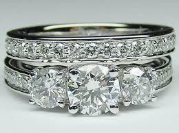 Wedding Band To Match 3 Stone Trellis Engagement Ring Google Search Round Diamond Engagement Rings Diamond Band Engagement Ring Big Wedding Rings