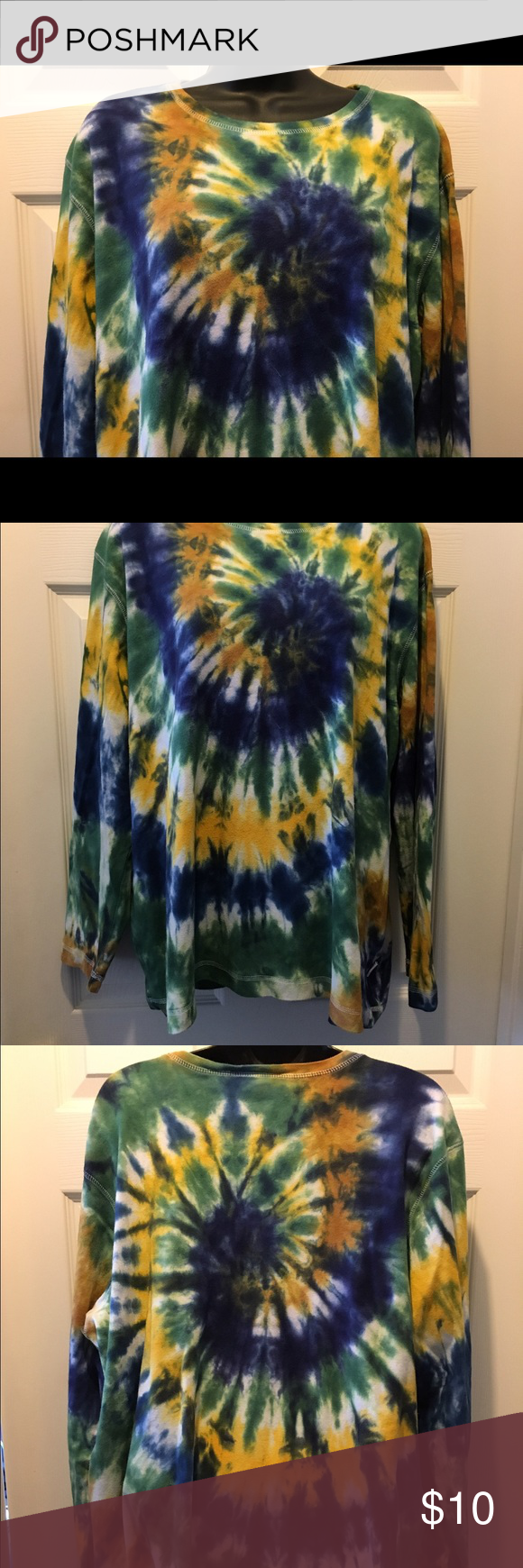 Long Sleeve Tie-Dye Liz Claiborne Top I made a plain white top more fun and tie-dyed it. It is in good condition Liz Claiborne Tops Tees - Long Sleeve