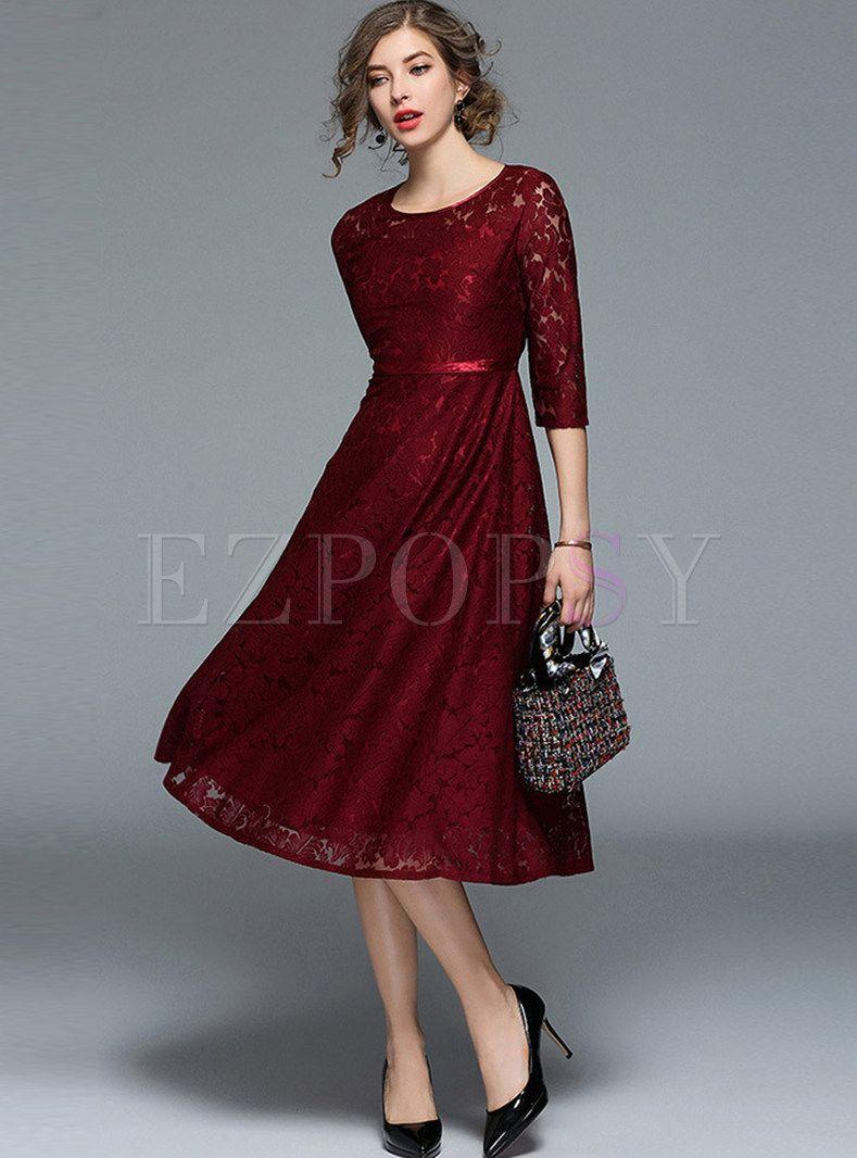Wine Red Lace Gathered Waist Skater Dress Dresses Red Cocktail Dress Summer Cocktail Dress [ 1066 x 789 Pixel ]