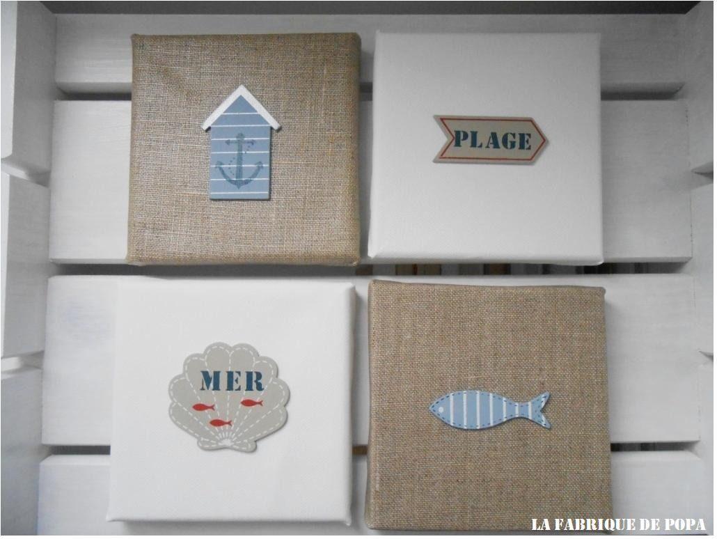 Ensemble de 4 toiles Mer et Plage déco bord de mer : Décorations ...