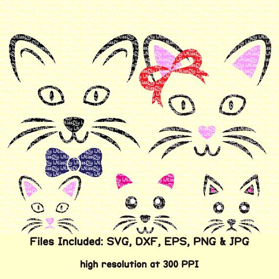 Cat Face Svg Cutting Files For Cricut Silhouette Design