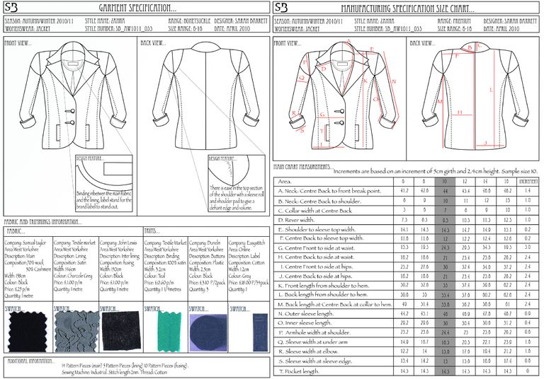 Garment And Manufacturing Specification For Zanna Jacket  Gcse