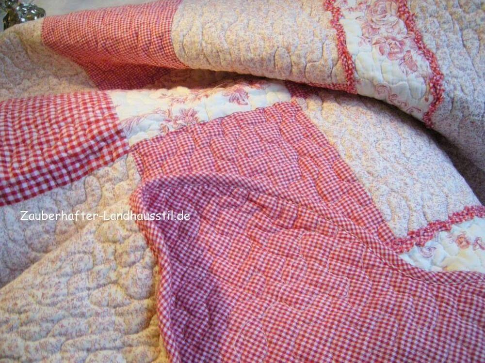 LOTTA Tagesdecke Rot/Weiß Tischdecke Clayre&Eef 150x150 Landhaus Toile de Jouy